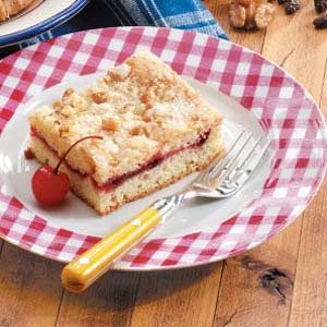 Cherry Coffee Cake with Walnut Topping