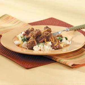 Beef Tips on Potatoes