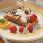 Grilled Salmon with Cheese Sauce