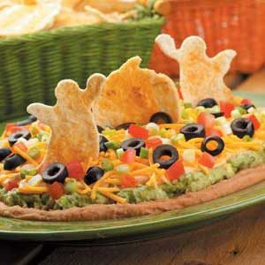 Tex-Mex Dip with Spooky Tortilla Chips