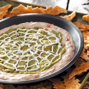 Spiderweb Dip with Bat Tortilla Chips