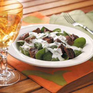 Beef Kabob Spinach Salad