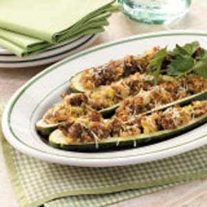 Parmesan-Pork Zucchini Boats