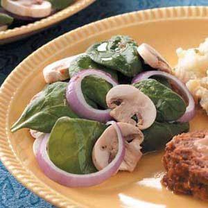 Tangy Mushroom Spinach Salad