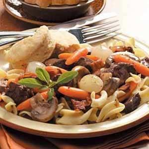 Beef and Pasta Burgandy