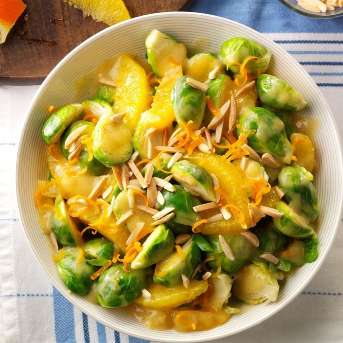 Vegetarian Saucy Sprouts and Oranges