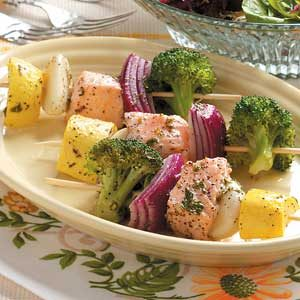Steamed Salmon Kabobs
