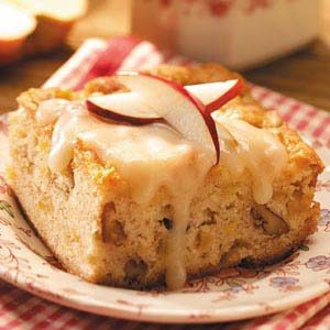 Apple Nut Cake with Rum Sauce