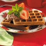 Chocolate Pecan Waffles with Strawberries