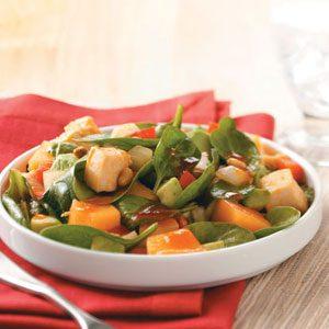 Chicken-Melon Spinach Salad