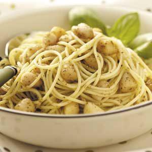 Scallops Pesto with Vermicelli
