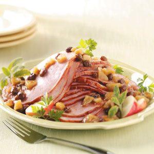 Ham with Apple Raisin Sauce