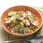 Cucumber Salad with Peppers and Onion