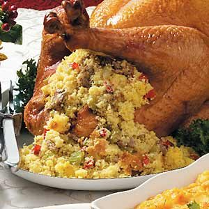 Turkey with Sausage-Cornbread Stuffing