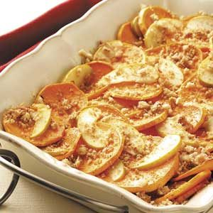 Sweet Potatoes and Apples Au Gratin