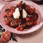 Chocolate Dessert Waffles with Raspberries