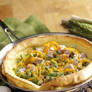 Ham & Asparagus Puff Pancake