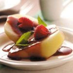Poached Pears with Raspberry Sauce