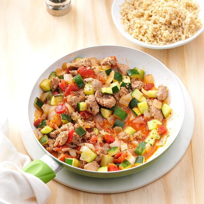 Day 3 Dinner: Sausage Zucchini Skillet