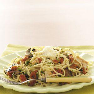 Makeover Garlic Chicken Spaghetti