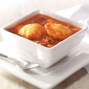 Bean Soup with Cheddar Cornmeal Dumplings
