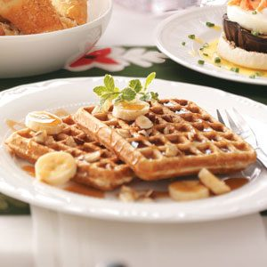Banana Hazelnut Waffles