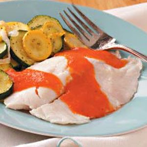 Tilapia & Veggies with Red Pepper Sauce