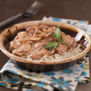 Mushroom Beef Tips with Rice