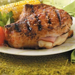 Grilled Cordon-Bleu Pork Chops