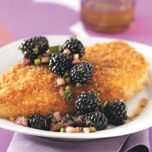 Crumb-Coated Chicken & Blackberry Salsa