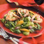 Romaine Pecan Salad with Shrimp Skewers