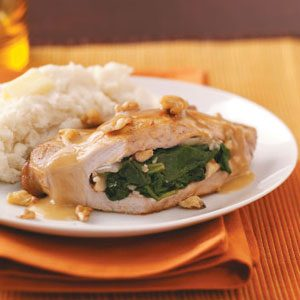 Spinach Pork Chops with Lemon Gravy