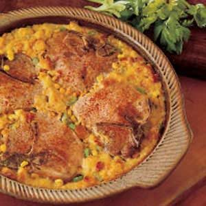 Baked Pork Chops with Corn Dressing