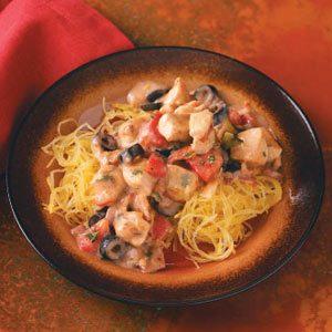 Mediterranean Chicken with Spaghetti Squash