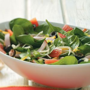 Pizza Salad with Tomato Vinaigrette