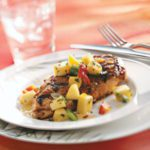 Spicy Chicken Breasts with Pepper Peach Relish for 2