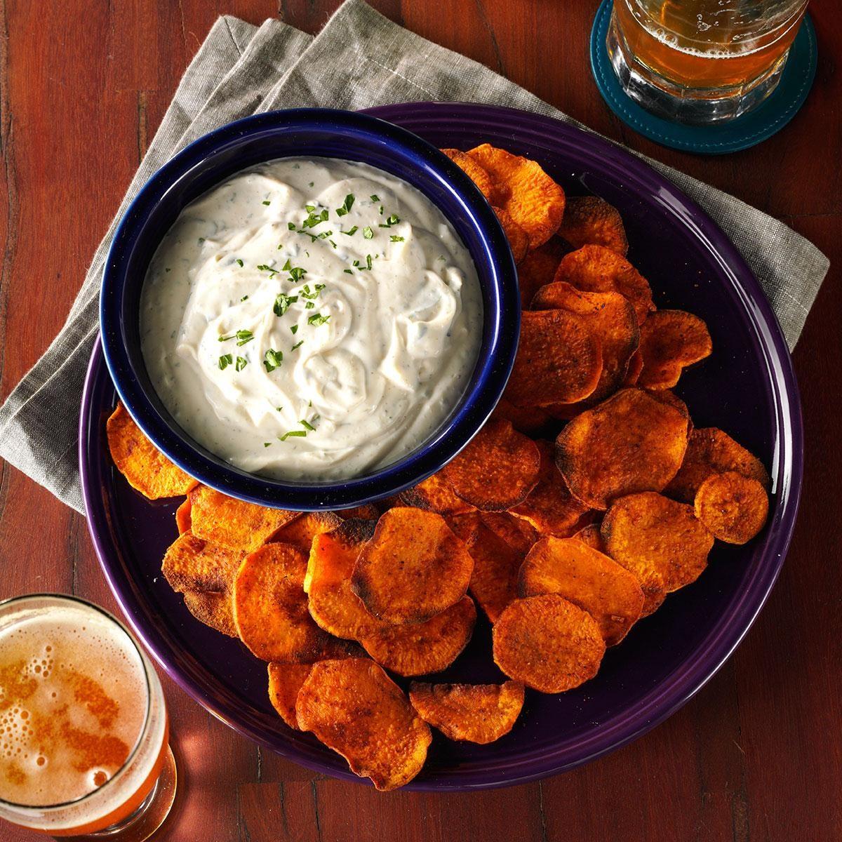 Spicy Sweet Potato Chips & Cilantro Dip