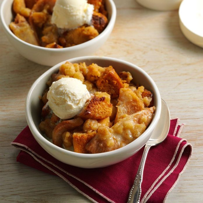 Toffee-Pear Crisp Bread Pudding
