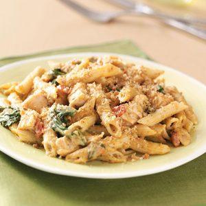Pesto-Chicken Penne Casseroles