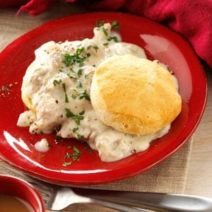 Home-Style Sausage Gravy and Biscuits