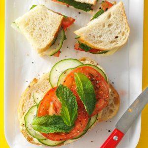 Mint-Cucumber Tomato Sandwiches