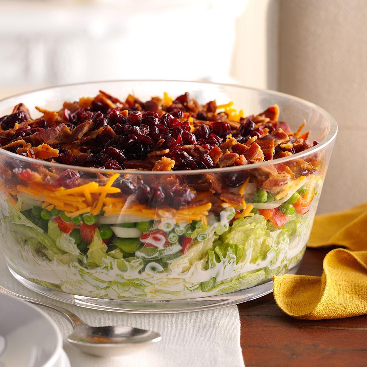 Overnight Layered Lettuce Salad Recipe | Taste of Home
