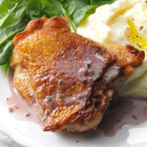 Chicken with Red Wine Cream Sauce