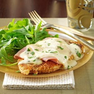 Chicken Corden Bleu with Mushroom Sauce and Rice