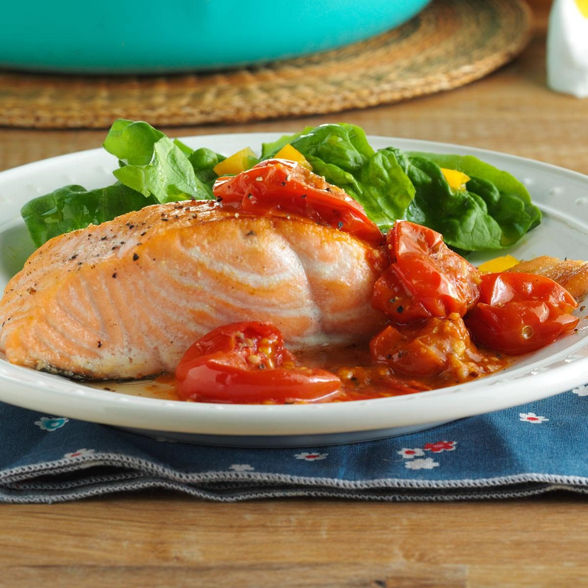 Pan-Roasted Salmon with Cherry Tomatoes