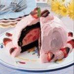 Strawberry Brownie Bombe