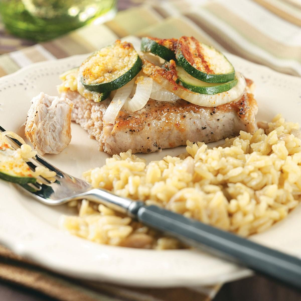 Skillet Pork Chops with Zucchini