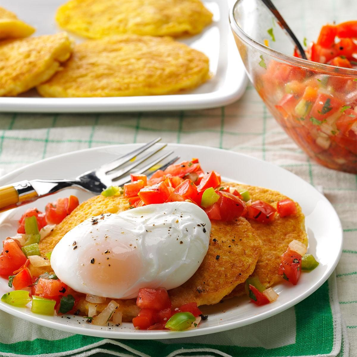 Corn Cakes with Poached Eggs