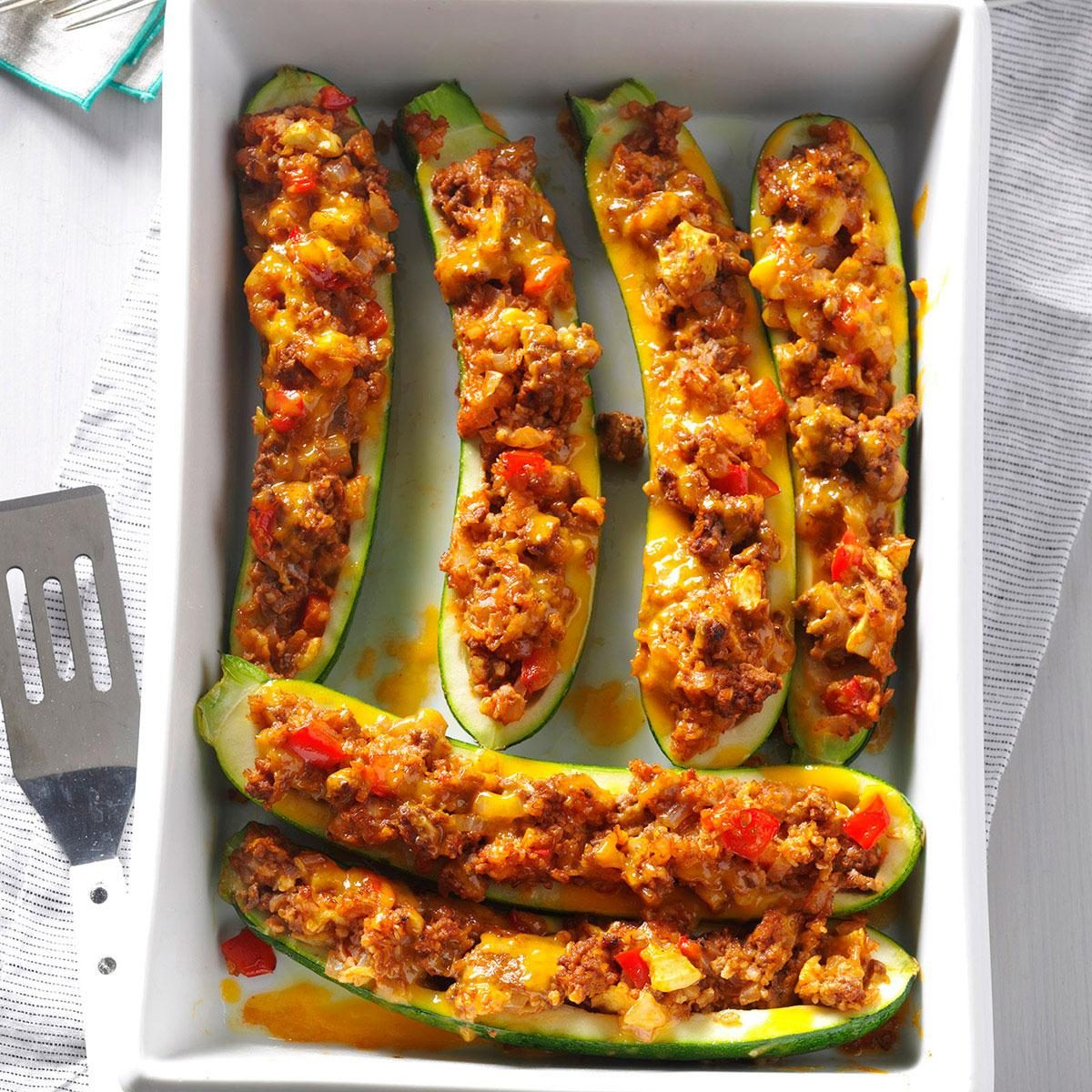 Day 18: Beef & Bulgur-Stuffed Zucchini Boats