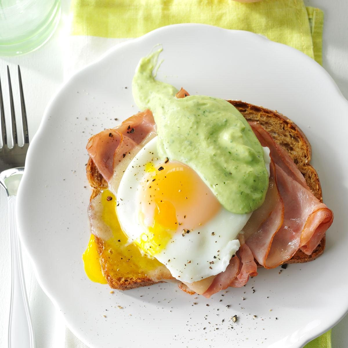 Southwestern Eggs Benedict with Avocado Sauce
